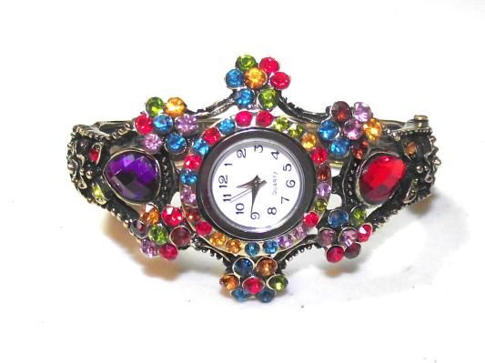 Ladies Multi colored Crystal watch, bangle, bracelet ***free shipping***