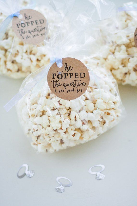 Popcorn Bag Tags - He Popped the Question #engagementparty