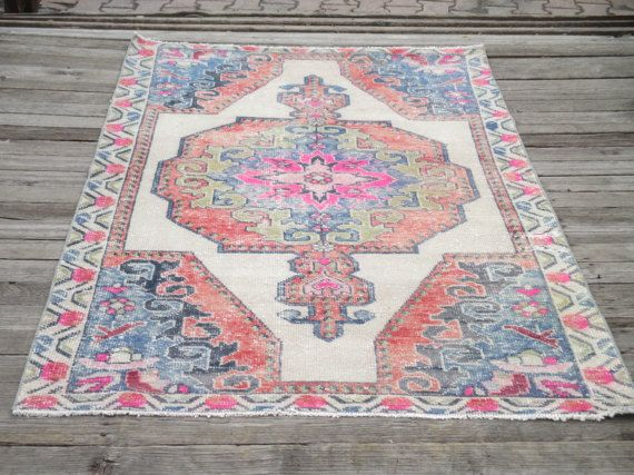 Turkish Rug Vintage Oushak Rug Turkish Oushak Rug Pink Rug Pile Rug Home Decor Rug  83 x 46 inc