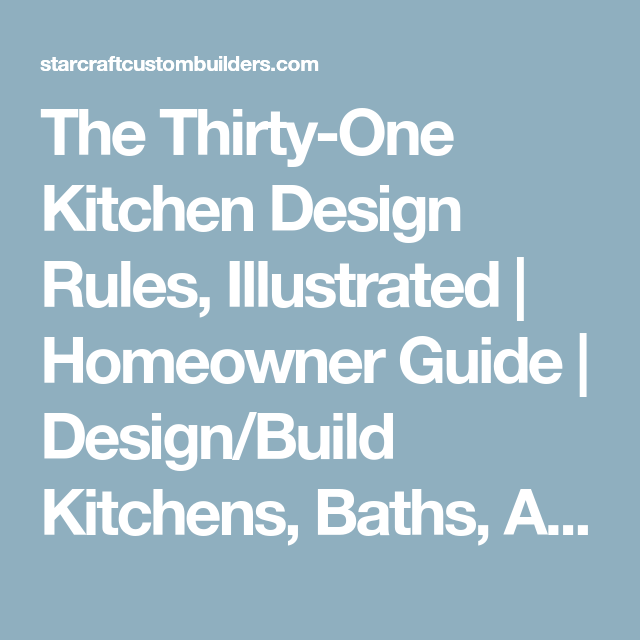 the thirty-one kitchen design rules, illustrated