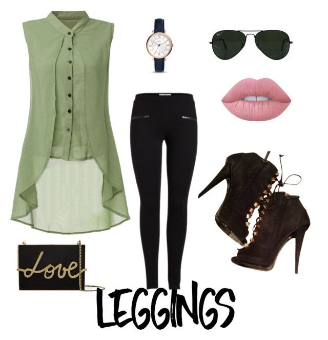 """""""Legging"""" by brunabrosa on Polyvore featuring Lanvin, Giuseppe Zanotti, FOSSIL, Ray-Ban, Lime Crime, Leggings and WardrobeStaples"""