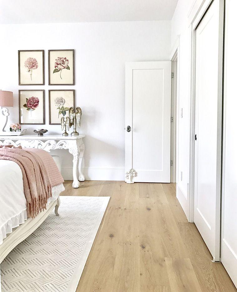Blush and White Spring Bedroom | White oak floors, Oak ...