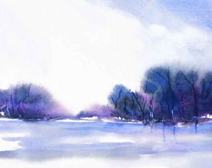 Aquarell Abstrakt, Wand Kunst Landschaft Aquarell Malerei Grafik, Druck Blau  Landschaft Malerei, Lila