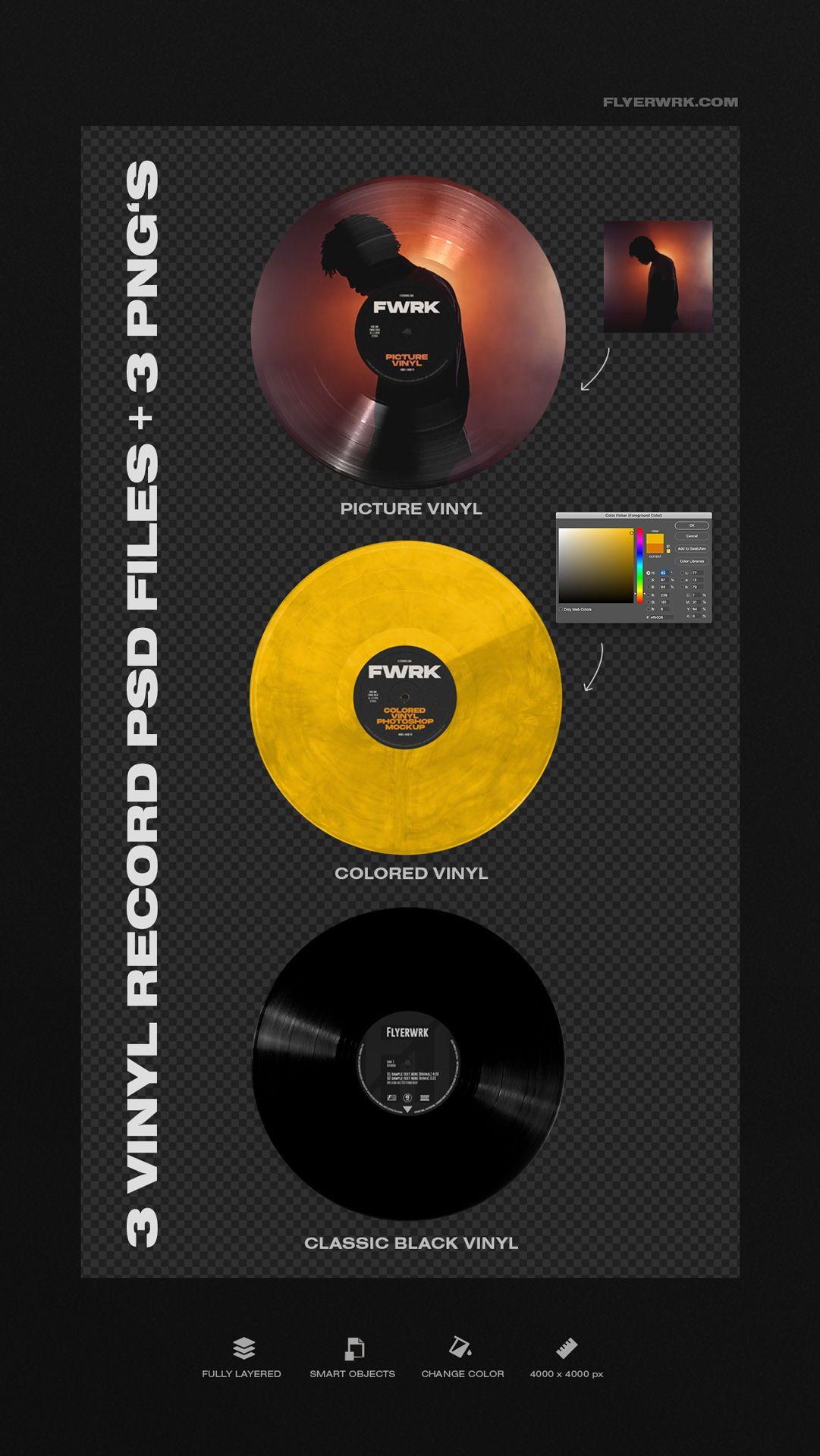 Retro Vinyl Record Mockup In 2020 Album Cover Design Vinyl Record Artwork Graphic Design Resources