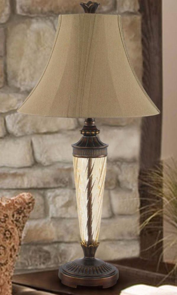 Table Lamp For Living Room Glass Bronze Bedroom Accent Light Elegant ...