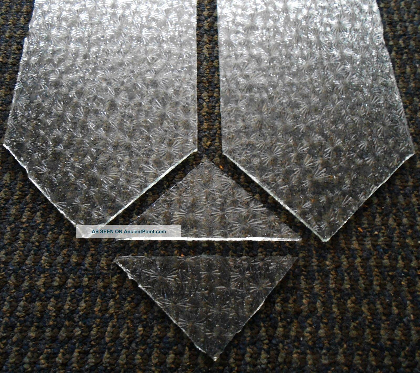 4 Vintage Clear Glass Sheets Antique Mosaic Tiles Snowflakes Pattern Textured 1900 1940 Photo Mosaic Tiles Snowflake Pattern Textures Patterns