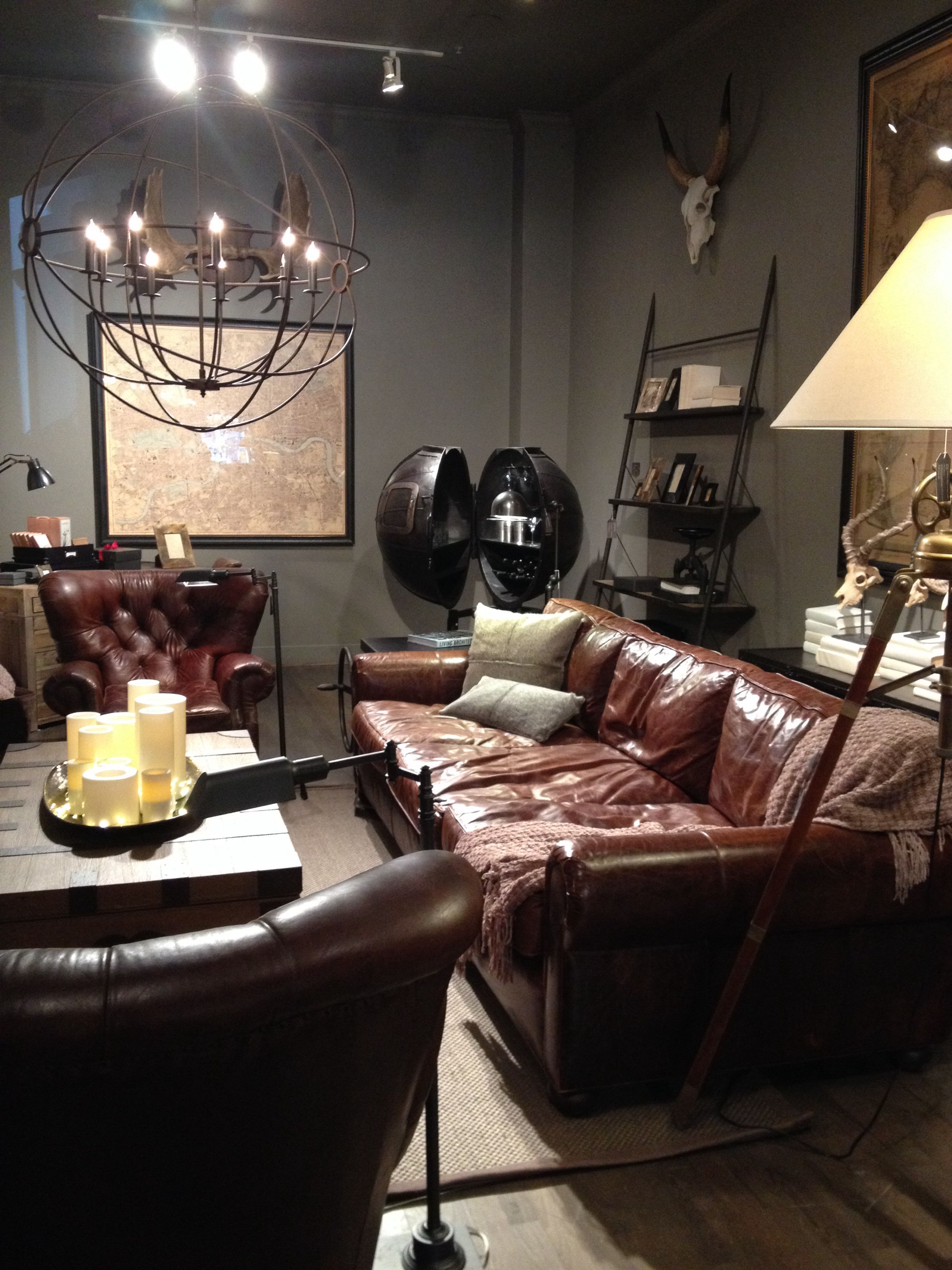 Chesterfield Wohnzimmer Restoration Hardware Brown Leather Sofa Over Sized Wall