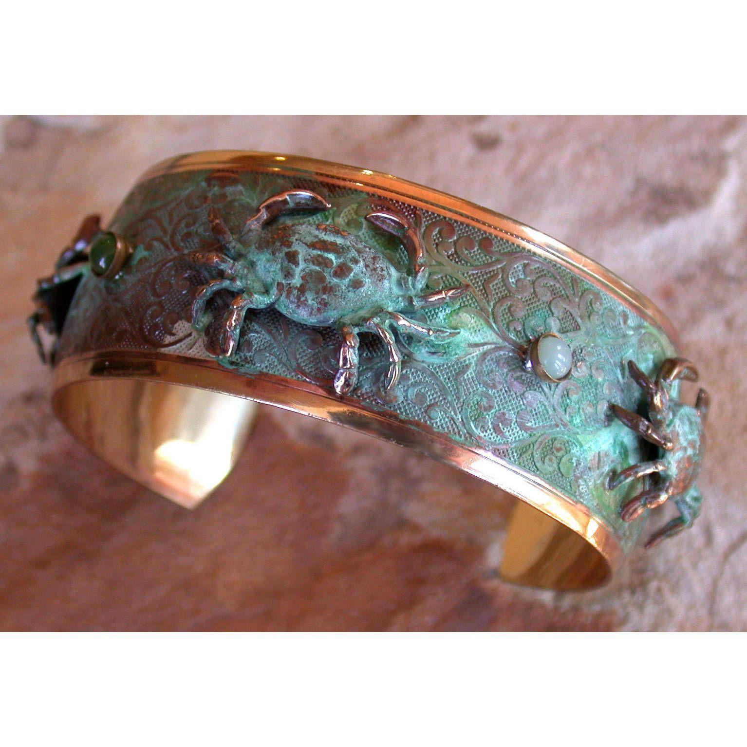 Amazing Handmade Verdigris Patina Solid Brass Sculptural Crabs Cuff   Amazonite,  Jade By Elaine Coyne (USA)
