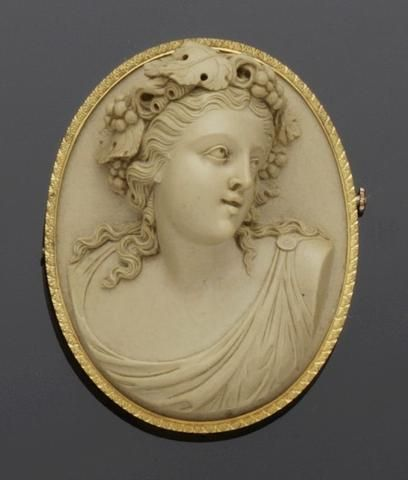 A late 19th century oval lava cameo brooch