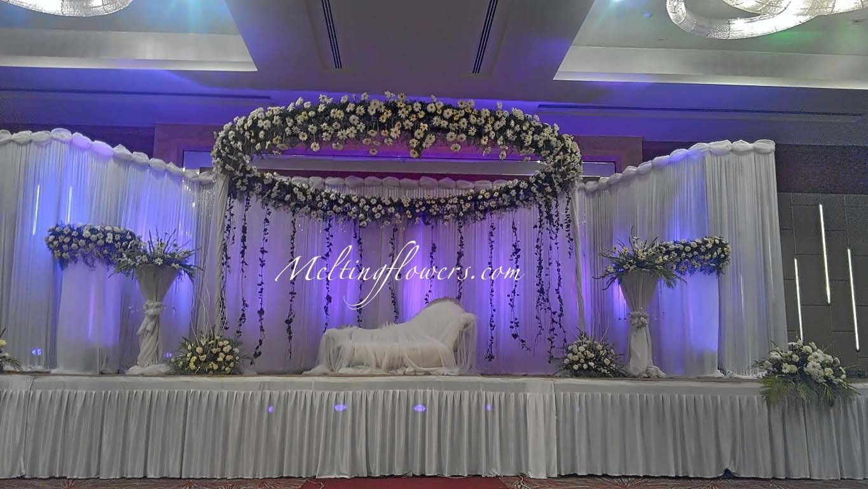 wedding stage decoration Wedding stage decorations Yellow wedding flowers Wedding stage