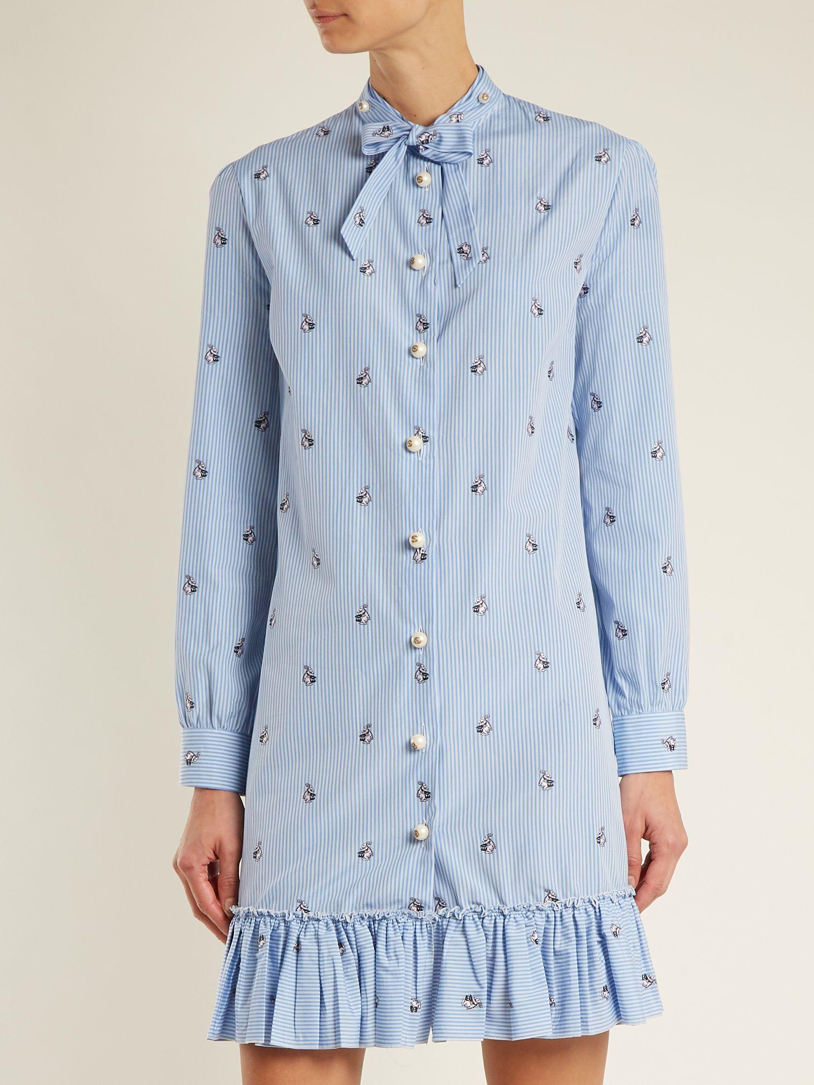 2d610da2d Bunny fil coupé striped cotton-poplin dress | Gucci | MATCHESFASHION.COM