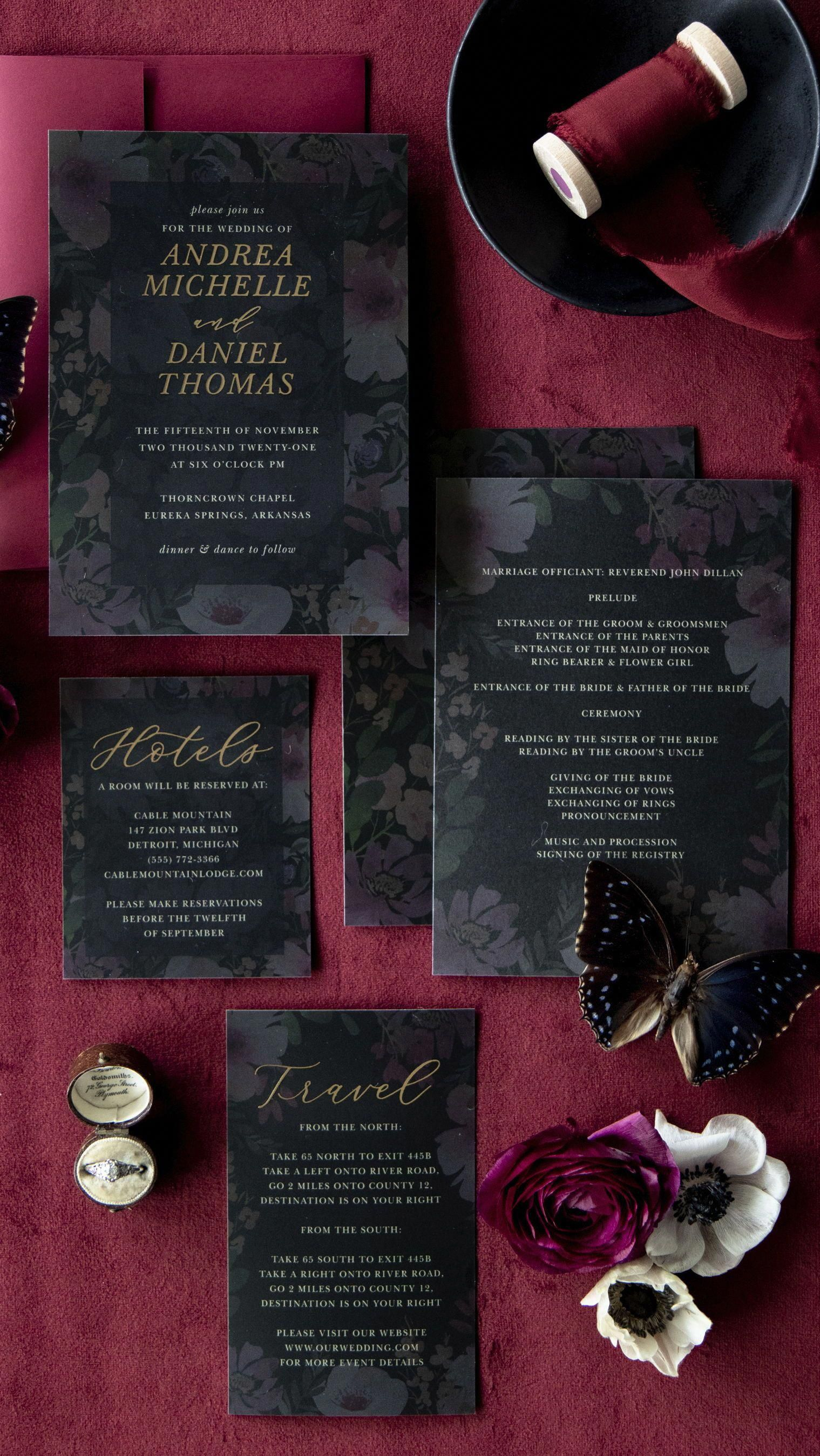 Gothic Flowers Wedding Invitations
