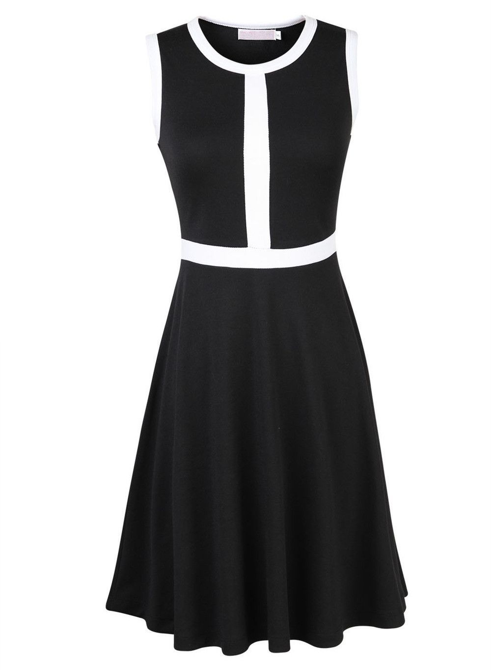 11f531a80f92d New black white contrast color patchwork sleeveless pleated dress women  casual office party dresses robe vestidos plus size