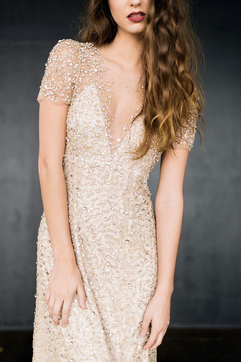 Rhinestone wedding dresses  A Rhinestone Wedding Dress to Inspire a Midnight Kiss