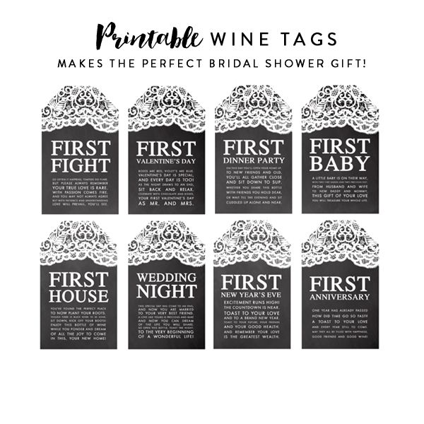 picture about Printable Wine Tags for Bridal Shower Gift named Wine Tags - Fantastic Bridal Shower Present - Chalkboard Lace