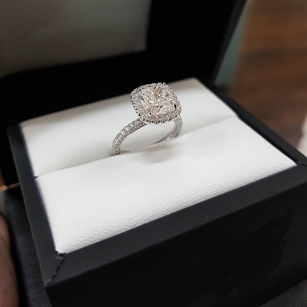 3.20Ct Round Cut Diamond Halo Engagement Ring in 14k White Gold Finished