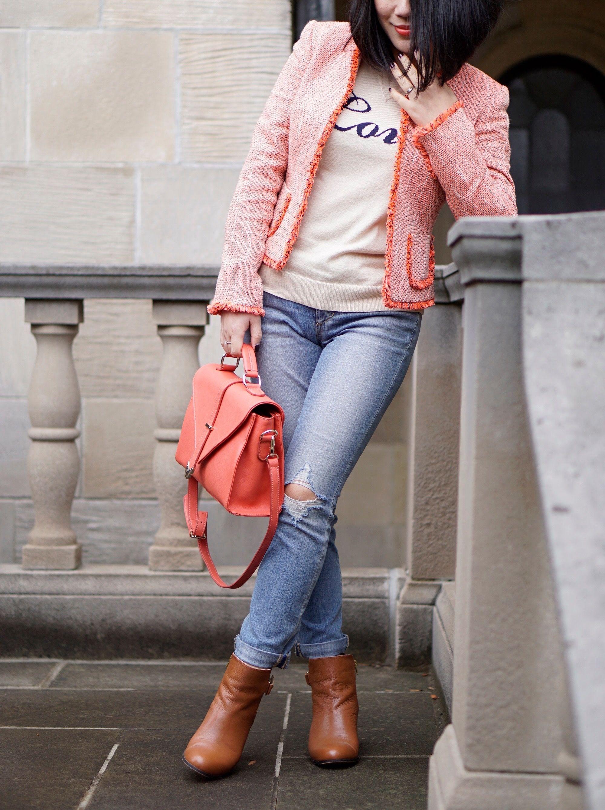 Petite street style Tahiti jacket+Loft love sweater+Joe's jeans+Nordstrom brown booties+ifchic bag