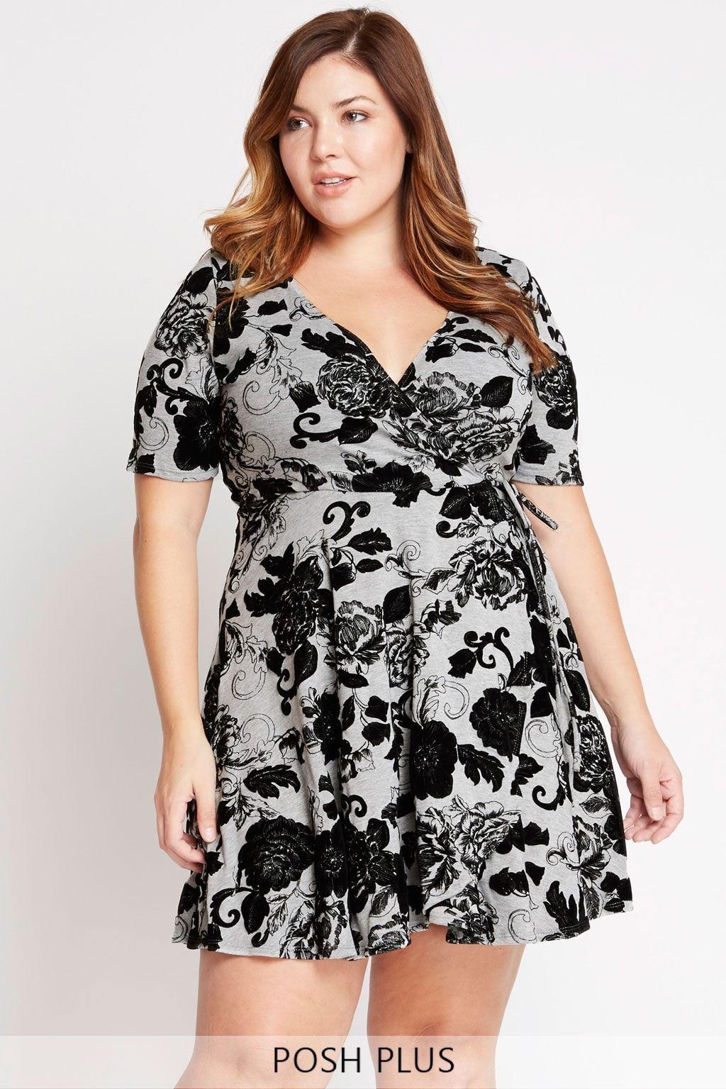 4d35cf3213a3 Grey Perennial Floral Mock Wrap Dress Plus Size