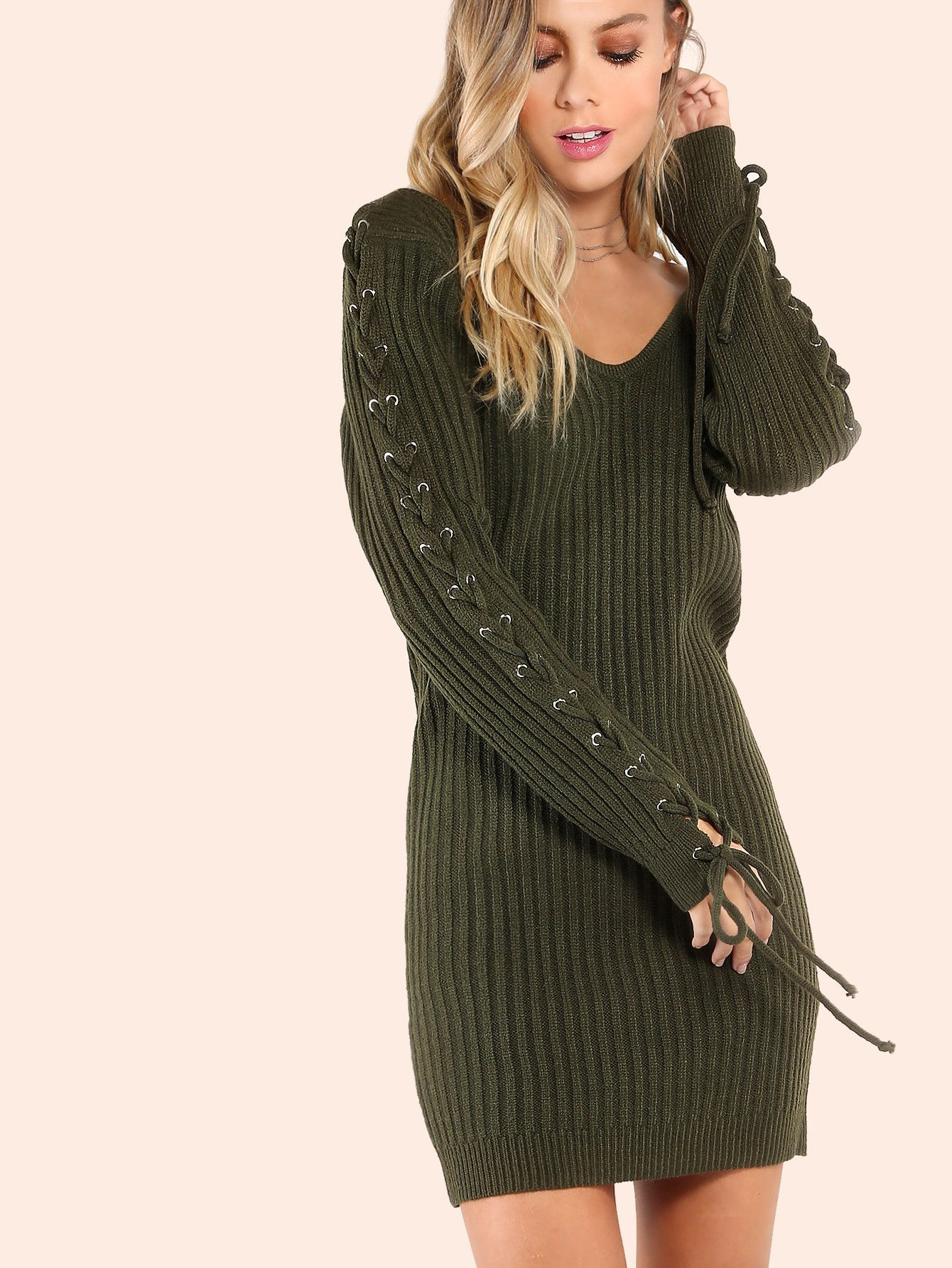 Fabric  Fabric has some stretch Season  Fall Type  Sweater Pattern Type   Plain Sleeve Length  Long Sleeve Color  Green Dresses Length  Mini Style   Casual 56c473c0b