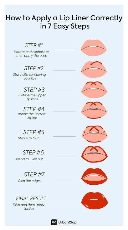 Photo of How to apply lip liner in 7 steps. #lipliner #lipstick #makeup #guide #easy – Edeline Ca.
