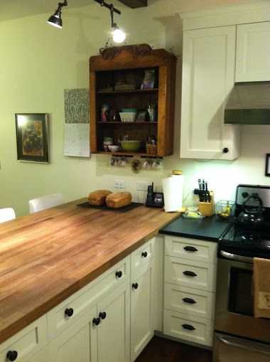 Antique Cabinet Over Butcher Block Peninsula For The Home
