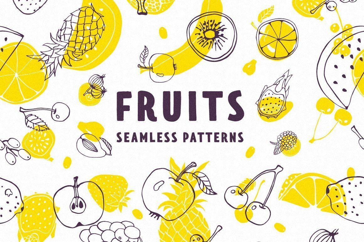 Fruits Patterns Set Vector Seamless Food Fruit Pattern Drawing Vegan