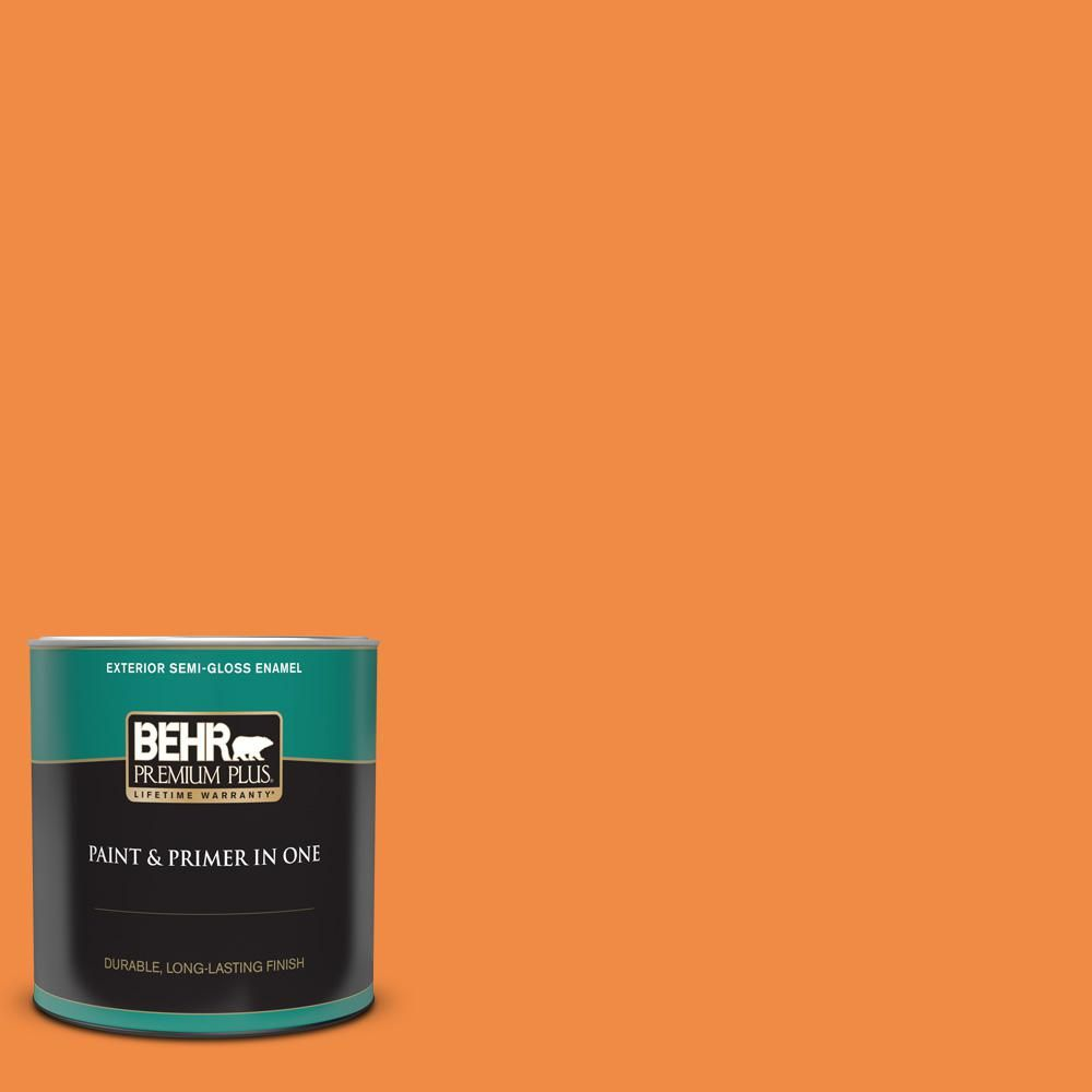Behr Premium Plus 1 Qt 250b 6 Poppy Glow Semi Gloss Enamel Exterior Paint And Primer In One In 2020 Behr Premium Plus Exterior Paint Exterior