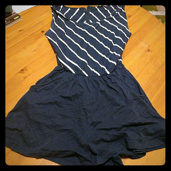 Blue and white striped romper Open back romper with dark blue bottom and striped top. no Pants Jumpsuits & Rompers
