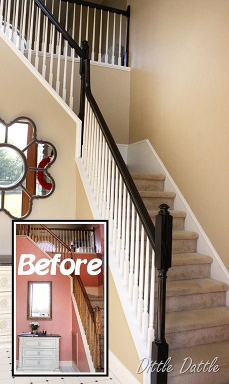 Best Painted Railings Spindles Love The White Spindles Dark 400 x 300