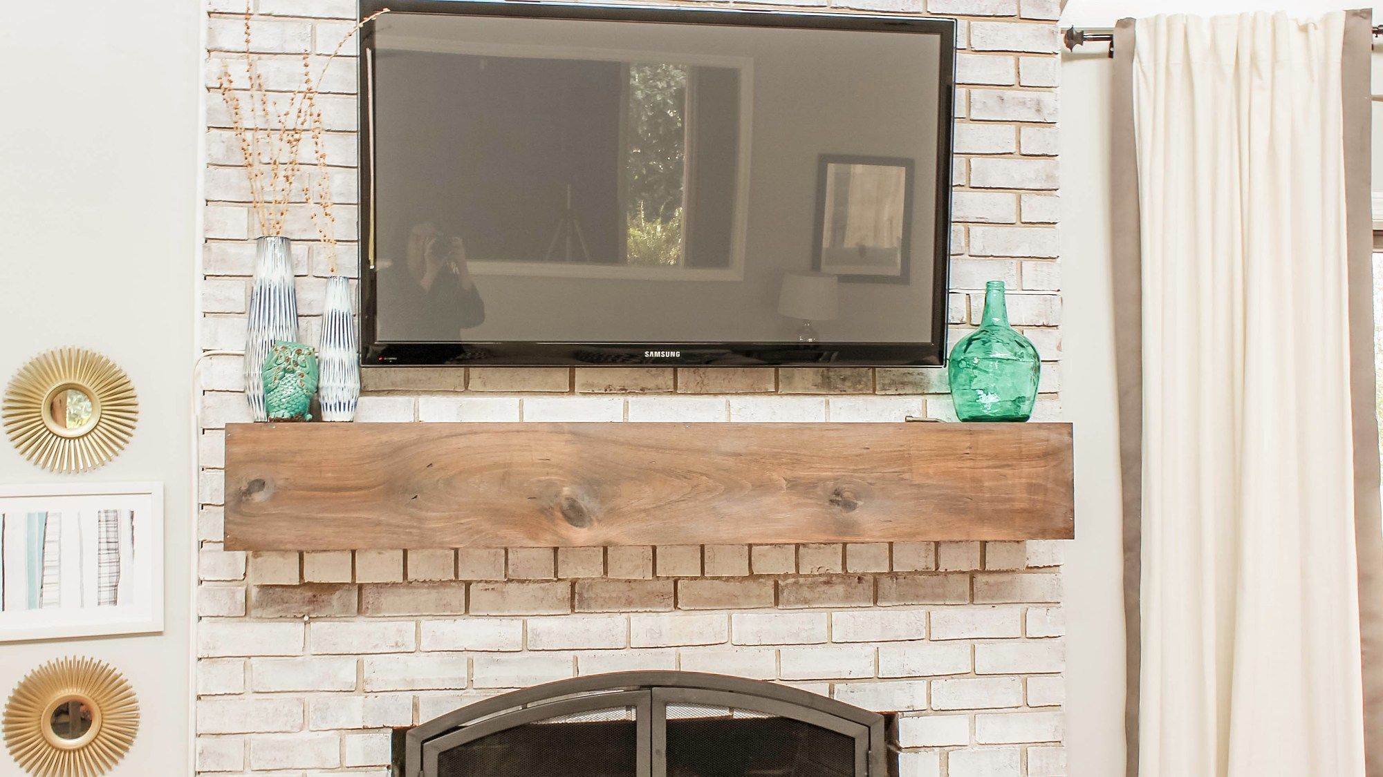 How To Mount A Tv Over A Brick Fireplace And Hide The Wires