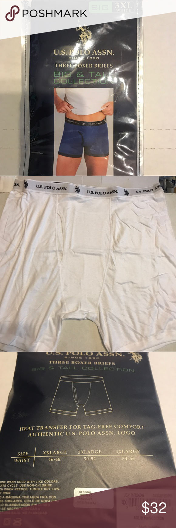 d6c160eb5437 U S Polo Assn Boxer Briefs 3XL White 3-pack U. S. Polo Assn. Big 3XL size  Mens White Boxer Briefs. 100% cotton. See photo of size chart.
