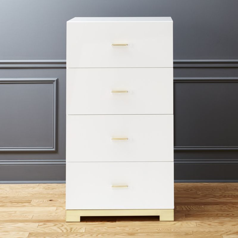 Shop Odessa Tall White Gloss Chest Of Drawers Designed By Mark