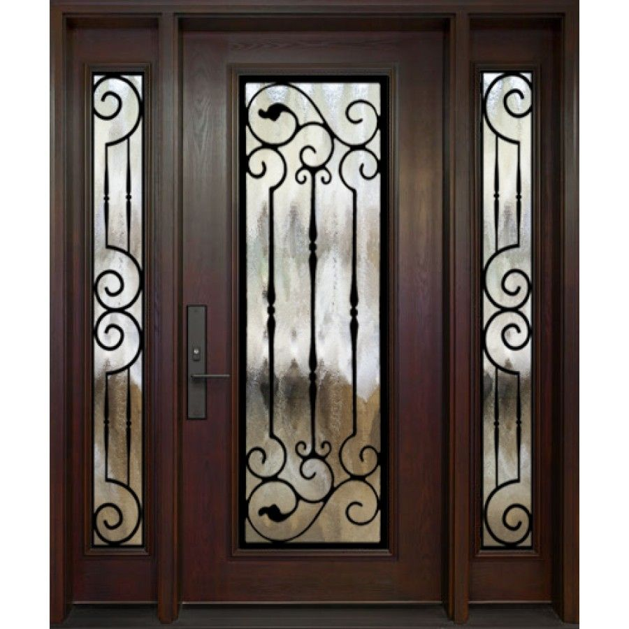 Single Entry Door Two Panel Glass Sidleights Full Size Prague