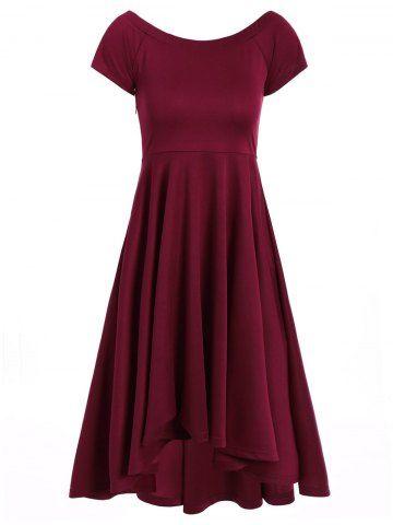 asymmetric offtheshoulder semi formal swing dress