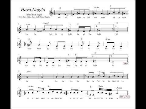 Hava Nagila Mi Nota Akor Eslik 2 Music Guitar Chords Sheet Music