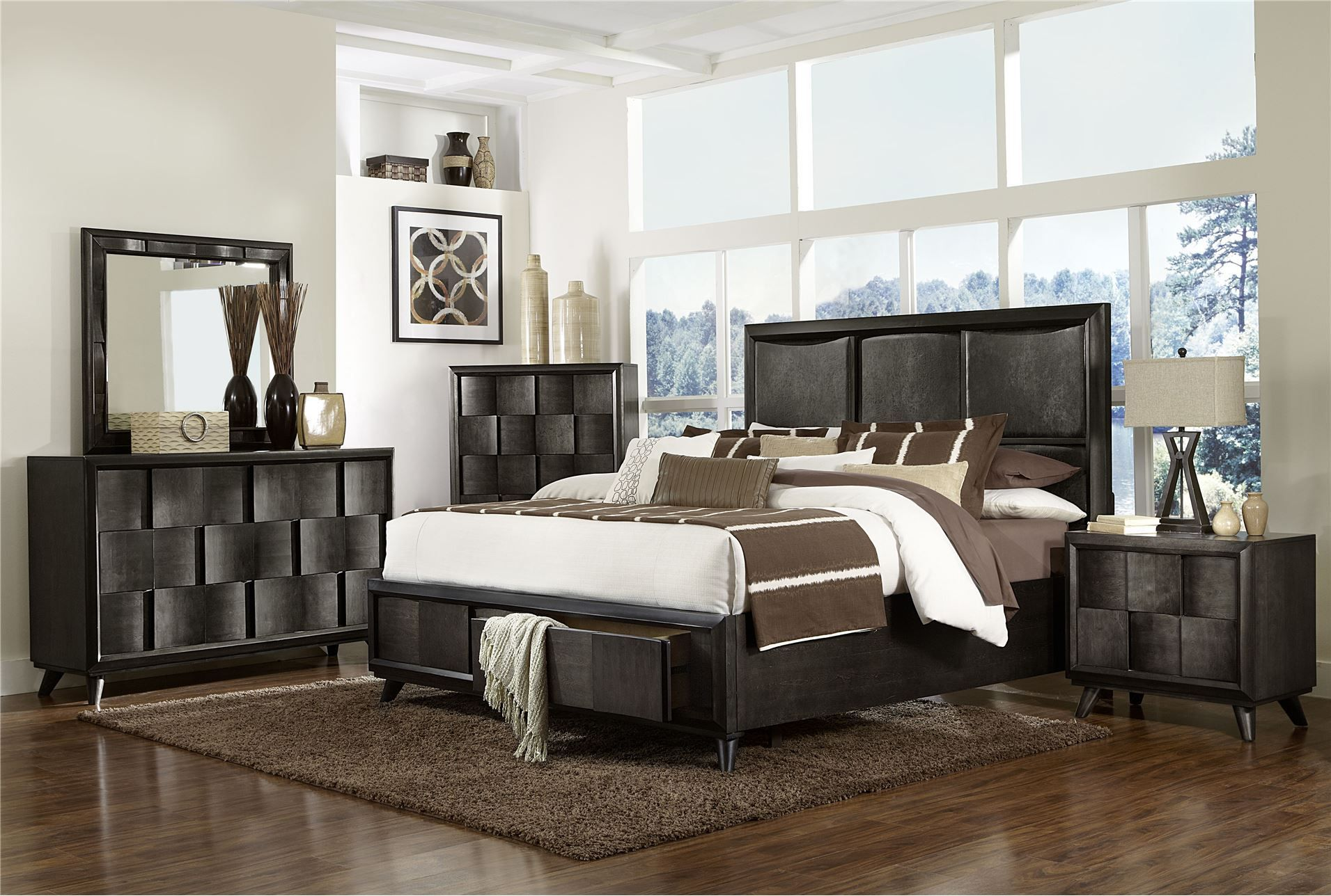 Harlowe Eastern King Storage Bed Master Bedroom Set Furniture