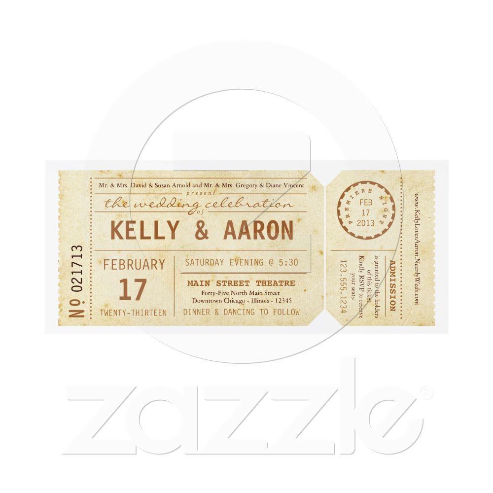 Vintage typography theatre movie invitation with ticket DIY
