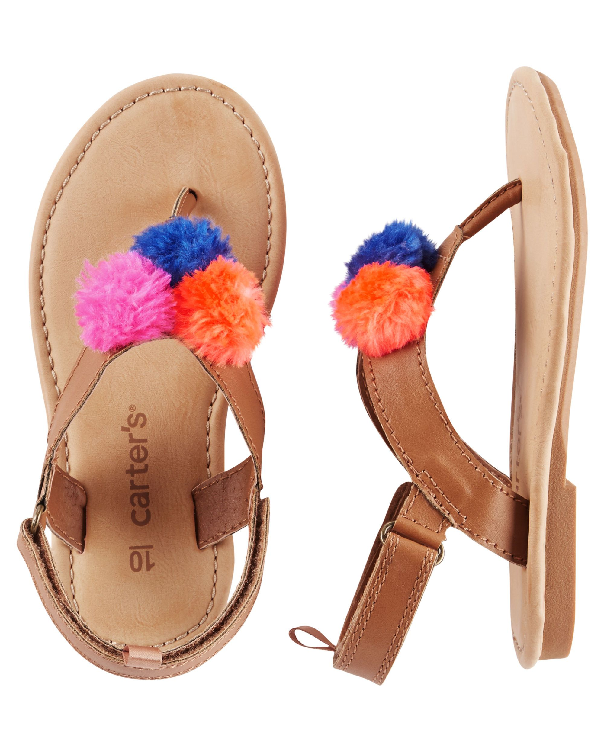 affe7554c2f3 Baby Girl Carter s Pom Pom Sandals