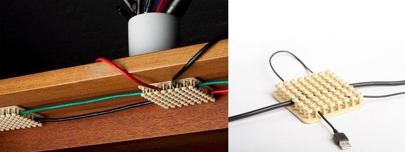 Cablox Cable Management System: It sticks under your desk, and you can run  your cables through it, shorten, fasten and bundle them.