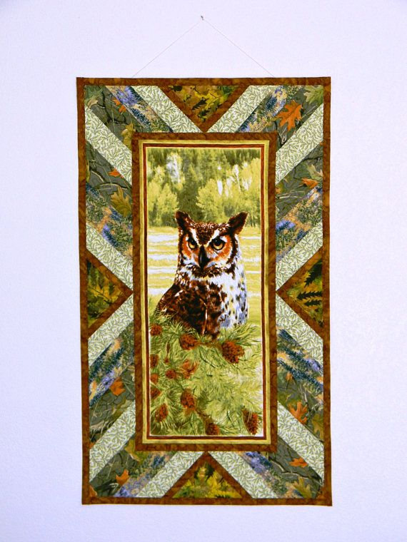 Owl Quilt Wall Hanging Quilted Fiber Art Owl Panel with Patchwork ...