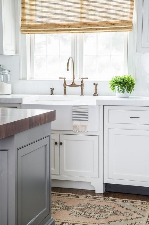 White Kitchen Rug white shaker cabinets, white marble countertops, farmhouse sink
