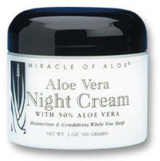 Miracle of Aloe Aloe Vera Night Cream (2 oz) by Miracle of Aloe. $13.25. Aloe Vera Night Cream with 50% Aloe. Penetrating Cream Restores Skin While You Slumber. racle of Aloe Aloe Vera Night Cream (2 oz)  Aloe Vera Night Cream with 50% Aloe   Penetrating Cream Restores Skin While You Slumber   Night cream works while you sleep...helping to give you a more youthful, lovelier appearance each morning. Helps to ease away fine lines, and get needed moisture deep-down to rev...