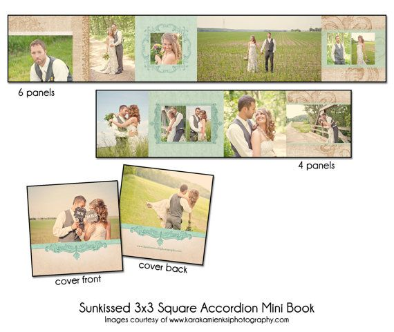 "PSD Wedding Accordion Mini Book - RUSTIC CHARM - 3x3"" Square"