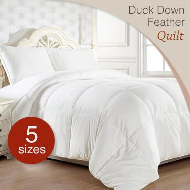 Duck Down Feather Bed Quilt w/ Cotton Japara Cover | Buy Home Gift ... : duck feather quilt king size - Adamdwight.com