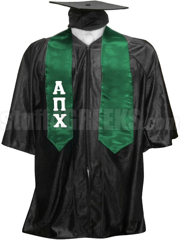 Green Alpha Pi Chi satin graduation stole with the Greek letters down the right panel.