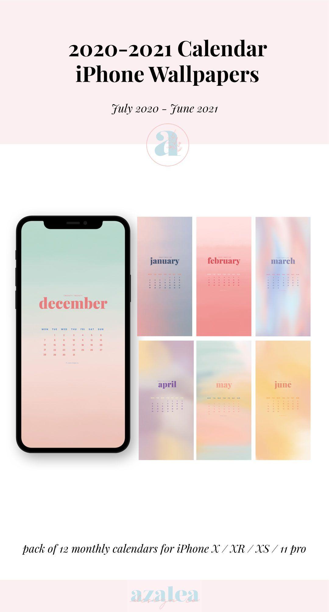 21 Watercolour iPhone Calendars Phone Wallpaper Instant   Etsy ...