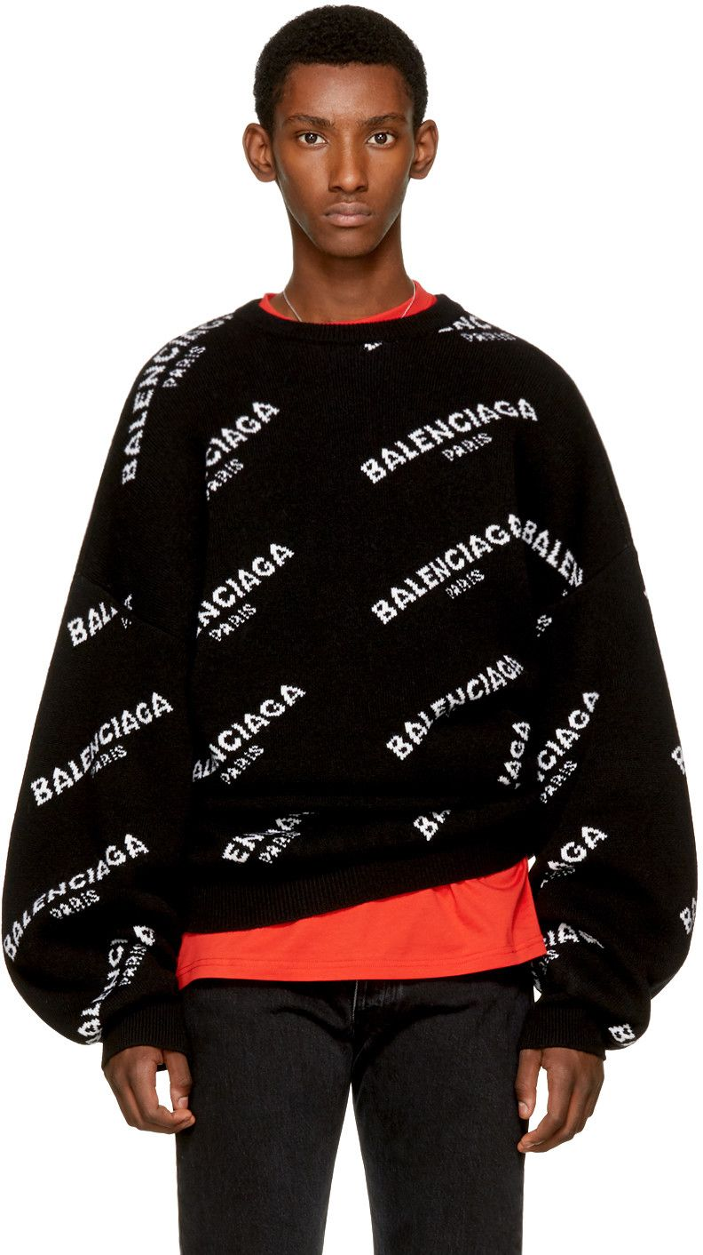 48dd76f442f BALENCIAGA Black All Over Logo Crewneck Sweater. #balenciaga #cloth ...