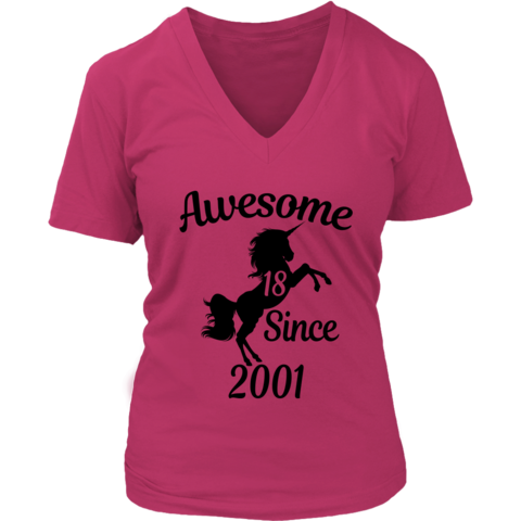 Unicorns 18th Birthday Girl Awesome Since 2001 Black 18 Years Old T Shirts 2019 Collection Unicorns 18th Birthday Girl Boy Gifts Old T Shirts Girl Birthda