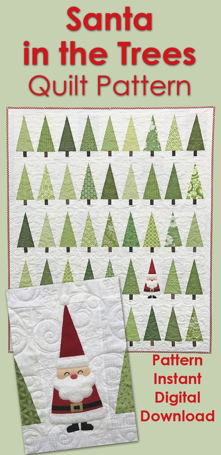 Adorable Christmas quilt pattern. Santa in the trees. Christmas ...