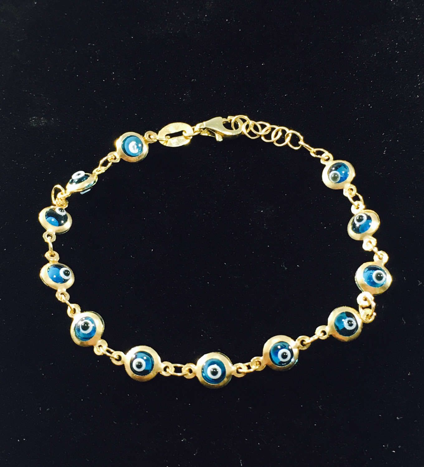 10k Gold Turkish Baby Blue Evil Eye Beaded Designer Bracelet Etsy Blue Evil Eye Online Gold Jewellery Gold Wedding Jewelry
